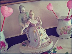 Porcelain romantic couple figurine (eg2006) Tags: pink roses love vintage hearts couple pretty sweet cottage handpainted romantic chic sweethearts february figurine decor porcelain marieantoinette valentinesday mantel shabby uploaded:by=flickrmobile flickriosapp:filter=nofilter waleschina