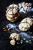 Vegan Cookies ai Pistacchi, Cardamomo e Acqua di Rose (saraghedina) Tags: stilllife shells black macro cookies canon dessert vegan treats nuts 100mm sugar pistachio sweets flour chiaroscuro crumb foodphotography veganomicon 100vegan