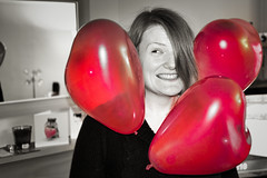 Electric  Personality  (Mad_m4tty) Tags: red portrait blackandwhite bw colour balloons fun mono day heart electricity static valentines effect selective  triboelectric