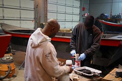 Garry and Levy at the paint table