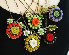 pendants (woolly  fabulous) Tags: flower wool rose necklace leaf felt daisy zipper embroidered pendant woollyfabulous