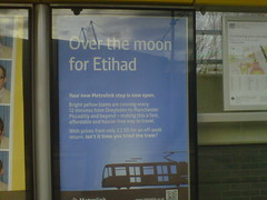 Over the moon for Etihad (Gene Hunt) Tags: geotagged manchester sportcity greatermanchester 2013 etihadstadium tfgm rimblackberry9300 etihadcampusmetrolinkstation