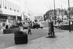 Town Centre, Luton, early 1990s (Markle1) Tags: street bw shop shopping town george beds centre bedfordshire bank 1992 specsavers 1990s luton precinct clays visionhire
