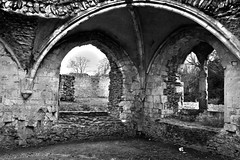 Waverley Abbey, Farnham (Rebecca Sharplin Hughes) Tags: old uk longexposure trip travel light england sky blackandwhite white rot tower abbey stone architecture digital canon project river dark outside ruins waiting exposure university pretty experimental quiet photographer natural bright ghost ruin experiment freezing monk ground surrey haunted dreamy uni crumble everyday past desolate processed printed destroyed waverly farnham dated enviroment crumbl dormetries