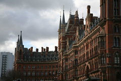 London St Pancras (stevecadman) Tags: brick london hotel eurostar 19thcentury victorian railwaystation ornate picturesque redbrick georgegilbertscott polychrome assymetrical assymetry railwayhotel londonstpancras stpancrasinternational awaitingupload gothicrevivalawaitinguploadlondonrailwaystationvictorian19thcenturyhotelgeorgegilbertscottgothicrevival