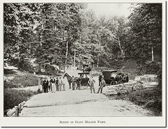 Scene at Mineral Spring Dale in Glen Miller Park, Richmond, Indiana (Hoosier Recollections) Tags: horses people woman usa man men history walking clothing women hats bridges indiana richmond transportation pedestrians streams roads buggy buggies waynecounty hoosierrecollections
