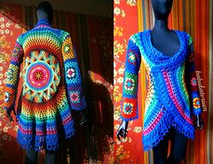 Crochet Coat - Aztec Sun Mandala And Granny Squares (babukatorium) Tags: pink blue red orange flower color green art wool fashion yellow vintage circle square star sweater rainbow colorful warm purple recycled handmade lace turquoise teal burgundy oneofakind coat crochet moda violet style mandala retro daisy hippie psychedelic applique cardigan bohemian multicolor octagon whimsical darkblue mitts ruffle haken häkeln emeraldgreen crochê grannysquares ganchillo royalblue fuxia uncinetto fattoamano lamè かぎ針編み tığişi horgolt uvgreen babukatorium