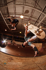Skyler King and Cole Boren. One flying, one inverted. (Tate Nations) Tags: skateboarding skaters halfpipe invert doubles woodenbowl backsideair rampageskatepark