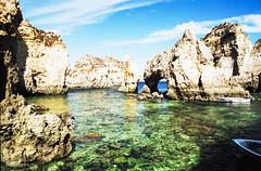 Ponta Da Piedade -Portugal_F501_Kodak_GA100_1988 (irisisopen f/8light) Tags: city film strand analog reisen nikon wasser europa kodak algarve farbe f501 felsen