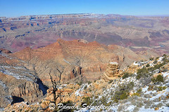 Desert View and Watchtower (pamelainob (Pamela Schreckengost)) Tags: arizona snow grandcanyon southrim desertview grandcanyonnationalpark desertviewdrive grandcanyonsouthrim pamelaschreckengost pamschreckcom 2013pamelaschreckengost