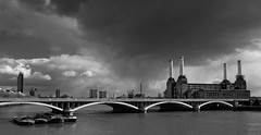 Snow storm over Battersea Power Station (Pete Rowbottom - Pete37038) Tags: uk snow storm london monochrome weather