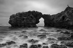stepping stones to the sea (Andy Kennelly) Tags: ocean door sea bw beach long exposure arch stones pelican newport stepping