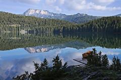 Between Earth and Sky (nsapronov) Tags: mountains reflections landscape lakes balkans nationalparks montenegro naturpark blacklake glaciallake durmitor zabljak crnojezero natureparks