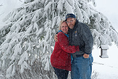 Snow Birds (Double_Nickel) Tags: woman snow man cold tree couple husbandandwife windy