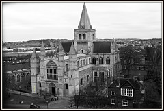 Rochester Cathedral from Rochester Castle Kent **Explored!** (Coolcats100) Tags: from uk england blackandwhite bw white castle church canon march blackwhite kent europe cathedral rochester sw 2013 canon650d coolcats100