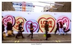 Love Hearts I (ReallyBigShots) Tags: pink people building love lemon movement fuji heart pavement walk pastel sidewalk lilac advert sweets boarding comingsoon reallybigsmile x10 takeme borderfx londonoxfordst love151com