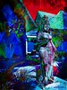 "Painted Lady (scinta1) Tags: blue red colour art statue digital digitalart gardenart chromodepth ""exoticimage"""