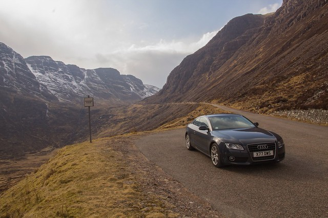 road mountain mountains car landscape scotland pass vehicle audi a5