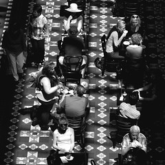 Morning Cafe: Strand Arcade Sydney New South Wales Australia (Kangaroobie...) Tags: street morning light shadow bw geometric coffee monochrome mono cafe sydney streetphotography australia fromabove newsouthwales kangaroobie streetaction strandarcade robbierobinson morningcafe