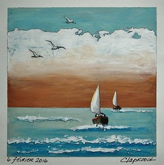 6 fvrier 2016 - February 6, 2016 (marieclaprood) Tags: ocean sea blue art painting boat sailboat nautical original acrylic small decor february nature bluesea marieclaprood nauticalart wallart dailypainting calm whiteclouds illustration seascape canvas