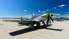 the cadillac of the skies (contemplative imaging) Tags: 2016 20160716 atx1228prodx airpowerhistorytour auroramunicipalairport cimisc20160716d7000 commemorativeairforce p51 tokinaaf1228mmf4 aircorps airforce airpower aircraft airplane airplanes airport america aviation bw contemplativeimaging cpl d7000 day digital dslr fighter flightline historic historical hot il ill illinois july kanecounty midwest midwestern military mustang nikon northamerican partlysunny photo photography preservation ronzack saturday sugargrove summer tok1228f4dx usa war warbird warbirds weapon weapons worldwarii ww2 wwii
