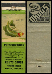 Kouts Drug Company in Kouts, Indiana - Matchcover (Shook Photos) Tags: smoke smoking match matches matchbook matchbooks matchcover matchcovers advertise advertising promotion promotional koutsdrugcompany veterinary prescriptions koutsindiana kouts indiana portercounty bass fish largemouthbass fishing