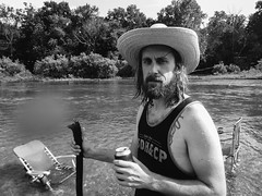 Brian (BurlapZack) Tags: panasoniclumixts20 vscofilm pack06 noelmo elkriver portrait wideangle bw mono monochrome waterproofcamera waterproofcompact digitalcompact pointandshoot toughcompact beard cowboyhat water river lounge deckchairs relax rr vacation roadtrip camping campvibes campingtrip weekendgetaway weekendwarriors beer walkingstick cabin cabintrip cabinlife summer summertime