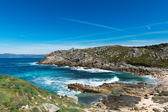 Beach paradise in Galicia, Spain (basair) Tags: beach galicia sea water sand summer landscape nature travel spain outdoors watersurface seascape idyllic relaxation blue vacations sunny atlantic scenics atlanticocean horizontal europe copyspace environment beautiful turquoise rockycoastline caribbean tourism acorua baroa barona castro fort castrodebaroa ocean coastline stone cliff wave rock peninsula hill portodoson isthmus ra green coast famousplace