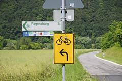 8.5 km to Regensburg (Explored) (Runemaker) Tags: signs sign signpost schild road street radweg weg bicycle cycle fahrrad altmhltal bavaria bayern regensburg rothenburgobdertauber strase strasse explore explored