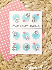 love never melts PS card (fridayfinally) Tags: papersmooches snowmen snow lightblue hearts love loveyoucard lovely cutebackground cute winter winterscene winterseason distressink copic