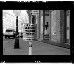 Parking Meter (New Paltz Camera Company) Tags: parking meter beacon ny new york bob esposito hudson river valley sign nikon fm2 camera yellow filter kodak 400 expired 35mm film xtol 11 developer epson v600 scanner black white monochrome analog analogue tmax