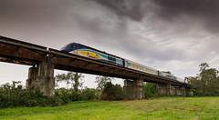 Shot today 14.9.2016 of the northbound XPT, NT33 at Kempsey,NSW (Photography By Tara Gowen) Tags: train bridge outdoors railway railbridge clouds xpt countrylink green sky australia taragowen photographybytaragowen nikon tokina1116mm wideanglelens