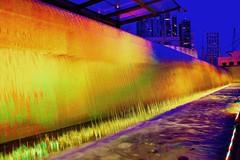 KLCC Waterfal (danialkhilji) Tags: malaysia kualalumpur travel explore night photography landscape vsco vscocam klcc klcctower petronas asia yellow colours water waterfall tower building