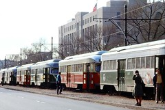 1974 MBTA Trolleys at Boston University (Historicimage) Tags: mbta mbtaboston mbtatrolley oldboston oldtrolleys bostonuniversity bu oldbostonphoto