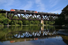 Train Reflections (Railfan02) Tags: greenway park cn dundas sub canadian national emd sd70m2 sd75i 8874 5728 london on