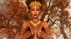 Suivre le vent (♛ Baronne ♛) Tags: secondlife autumn automne fall season trees leaf leaves orange saison souvenir sl 3d fr french picture photograph blog blogger metaverse fashion mode model mannequin pose attitude glamaffair on9 ersch gold gacha lelutka whitewidow ebony chocolate wicca tattoo tatouage busty cleavage romper portrait piece makeup maquillage eyeshadow couture beauty lady pretty girly new mesh maitreya visage face