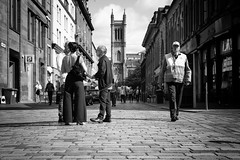 A Glasgow Confab (stephen cosh) Tags: 50mmaposummicron blackandwhite candid glasgow leicamonochromtyp246 people scotland stephencosh street streetphotography