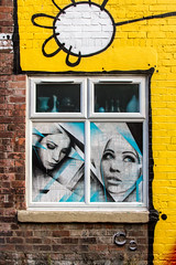 beauty window yellow framed (PDKImages) Tags: tiger alley alleyway twine colours art street blackpool eyes watched stare sad lonely tomboy love science uk lines rooftops hat hats boy scared terror beauty girl lady girls corner telephoneboxes england sat sit graffiti walls hidden windows conversation