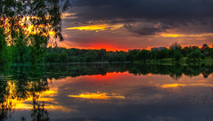 Orange sunset at the lake (Sorin Mutu) Tags: park sunset orange lake reflection clouds atardecer lac nuages parc hdr nori coucherdusoleil photomix bucarest portocaliu asfintit platinumheartaward mygearandme mygearandmepremium mygearandmebronze mygearandmesilver outstandingromanianphotographers blinkagain besteverexcellencegallery