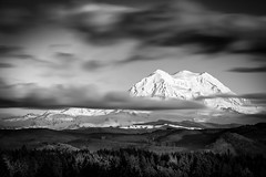 Mt. Rainier from the West (TroyMasonPhotography) Tags: longexposure winter blackandwhite bw mountain snow clouds landscape washington nationalpark peace chapel mountrainier mtrainier tahoma piercecounty tanwax yogasoleil tanwaxcountrychapel