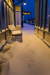 A Footprint Doesn't Look Like a Boot (CasualCapture) Tags: morning winter snow newyork storm sunrise town twilight village nemo platform footprints longisland trainstation february blizzard lirr locustvalley bootprint longislandrailroad 2013