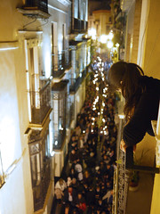 Laura watching the procession (michael.robb) Tags: architecture spain seville parasol metrosol