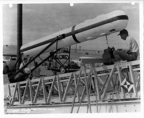 1508A USAF HAFB photo number, 1508A, 1956-05-21 Q-4 ground launch rail test, print scan