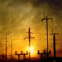 ~*~* high voltage sunrise *~*~ (xandram) Tags: urban texture photoshop sunrise ct poles telegraph traintrack voltage