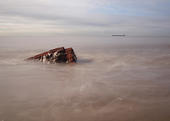 Submersion (.annajane) Tags: uk longexposure sea england brick beach wall boat ship crosby merseyside irishsea nd400 liverpoolbay burbobank