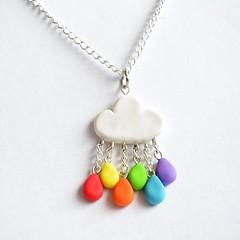 Polymer Clay Rainbow Rain Cloud Pendant Necklace (Linnypig) Tags: cloud cute rain necklace rainbow handmade charm jewellery chain clay kawaii etsy charms pendant polymer