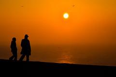 Sunset ballet {Explore} (Alexandre Moreau | Photography) Tags: sunset sea people orange sun reflection nature hat birds silhouette ball walking fire flying still glow view deep calm human cosstal
