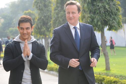 David Cameron with Aamir Khan at Delhi college