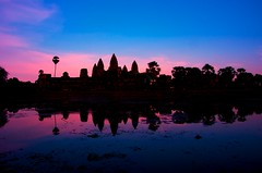 Pinks and Blues (DPGold Photos) Tags: travel pink blue sky sun reflection water sunrise temple nikon asia southeastasia khmer angkorwat siem reap siemreap angkor camboida dpgoldphotos