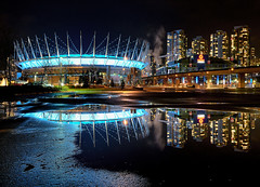 Van Cliburn - R.I.P. (Christopher J. Morley) Tags: blue canada reflection water night vancouver puddle concrete nikon downtown bc place parking lot arena explore rogers d600 tributetovancliburn pianogenius